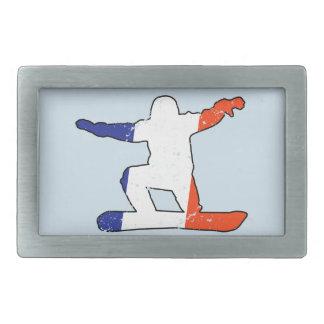 French Tricolor SNOWBOARDER (blk) Belt Buckles