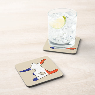 French Tricolor SNOWBOARDER (blk) Coaster