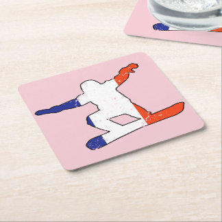 French Tricolor SNOWBOARDER (blk) Square Paper Coaster