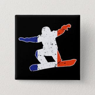 French Tricolor SNOWBOARDER (wht) 15 Cm Square Badge