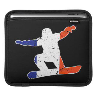 French Tricolor SNOWBOARDER (wht) iPad Sleeve