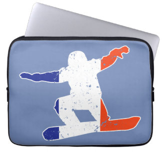 French Tricolor SNOWBOARDER (wht) Laptop Sleeve