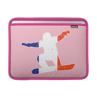 French Tricolor SNOWBOARDER (wht) MacBook Sleeve