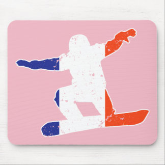 French Tricolor SNOWBOARDER (wht) Mouse Pad