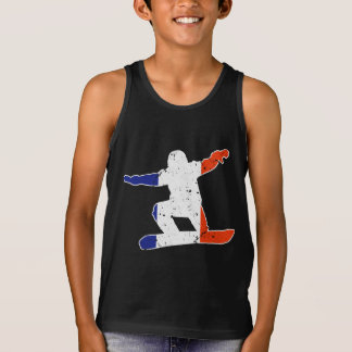French Tricolor SNOWBOARDER (wht) Singlet