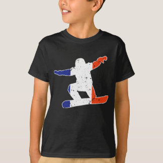 French Tricolor SNOWBOARDER (wht) T-Shirt