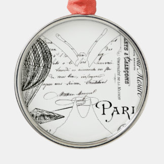 French Typography Butterfly Paris Design Silver-Colored Round Decoration