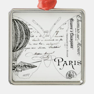 French Typography Butterfly Paris Design Silver-Colored Square Decoration