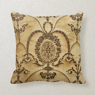 French Vintage Classic Damask Floral Parchment Cushion