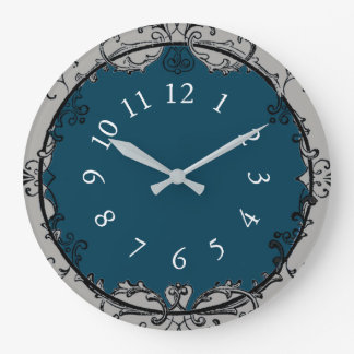 French-Vintage-Shop-Clock-Ocean-Blue*_Silver Large Clock