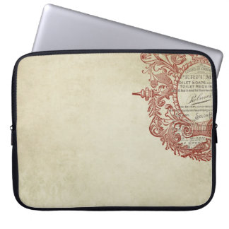french vintage style stamp laptop computer sleeves