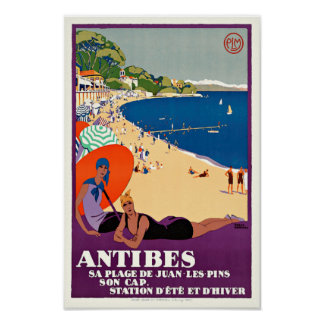 French Vintage Travel Poster Antibes Juan-les-Pins