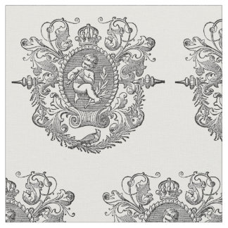 french vintage typography cherub design fabric
