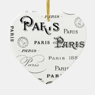 french vintage typography design Paris Ceramic Heart Decoration