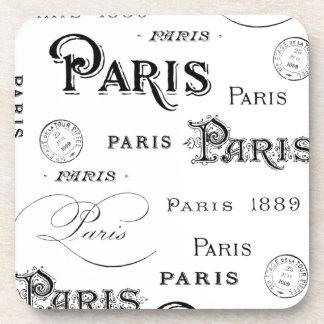 french vintage typography design Paris Coasters