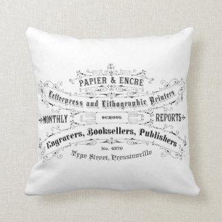 french vintage typography shabby chic cushion