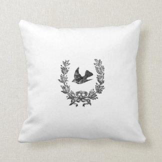 french vintage typography shabby chic cushion bird