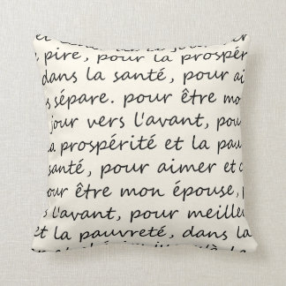 French Wedding Vows Handwriting Black and Ivory Cushion