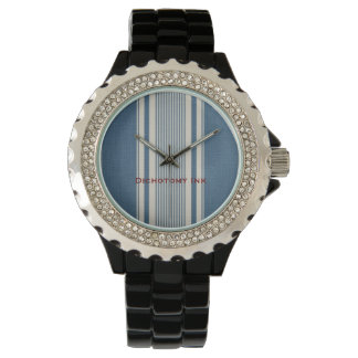 French White Blue Stripes Ticking Watch