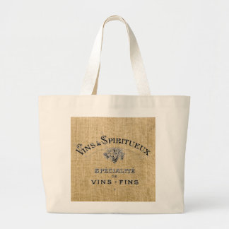 French Wine on Burlap Bag