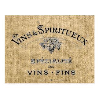 French Wine on Burlap Postcard