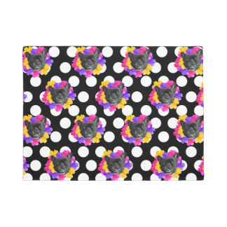 Frenchie and Pansy Dots Door Mat