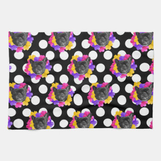 Frenchie and Pansy Dots Towel