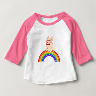 Frenchie celebrates Pride Month on LGBTQ rainbow Baby T-Shirt