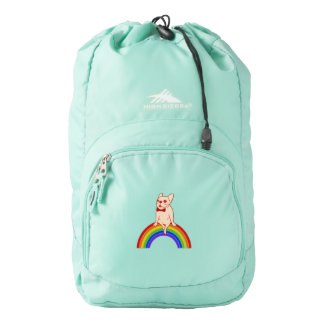 Frenchie celebrates Pride Month on LGBTQ rainbow Backpack