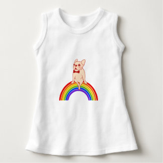 Frenchie celebrates Pride Month on LGBTQ rainbow Dress
