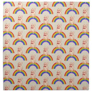 Frenchie celebrates Pride Month on LGBTQ rainbow Napkin