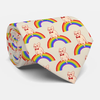 Frenchie celebrates Pride Month on LGBTQ rainbow Tie