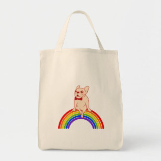 Frenchie celebrates Pride Month on LGBTQ rainbow Tote Bag