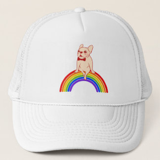 Frenchie celebrates Pride Month on LGBTQ rainbow Trucker Hat