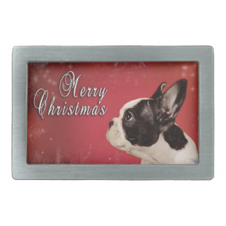 Frenchie Christmas card Belt Buckle