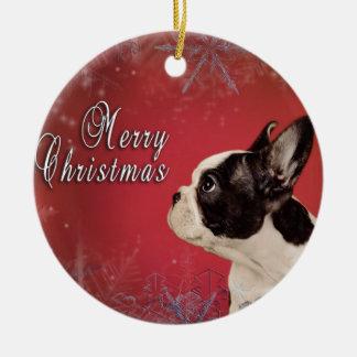 Frenchie Christmas card Ceramic Ornament