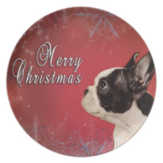 Frenchie Christmas card Plate