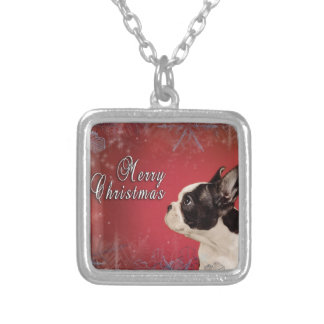 Frenchie Christmas card Silver Plated Necklace