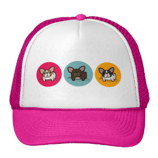 Frenchie Circles - Blue, Gold & Pink Trucker Hats