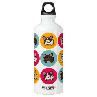 Frenchie Circles - Blue, Gold & Pink Water Bottle