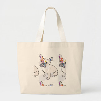 frenchie clown large tote bag