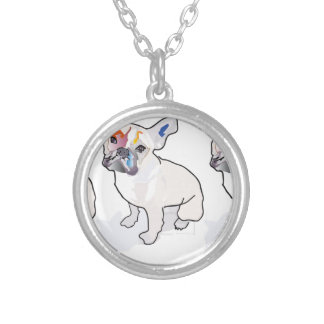 frenchie clown silver plated necklace