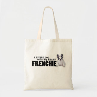 Frenchie dog with big heart tote bag