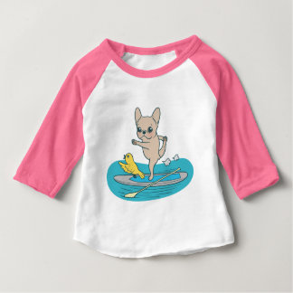 Frenchie doing yoga on stand-up paddle board baby T-Shirt