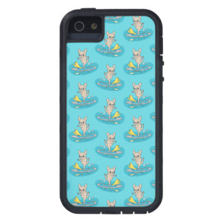 Frenchie doing yoga on stand-up paddle board case for iPhone 5