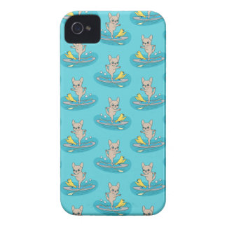 Frenchie doing yoga on stand-up paddle board iPhone 4 cover