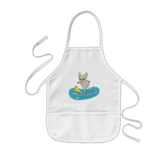 Frenchie doing yoga on stand-up paddle board kids apron