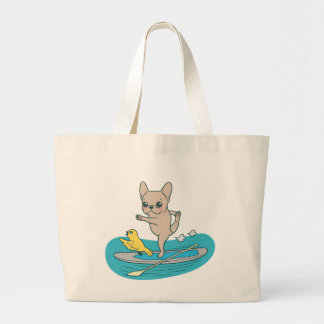 Frenchie doing yoga on stand-up paddle board large tote bag