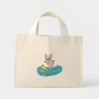 Frenchie doing yoga on stand-up paddle board mini tote bag