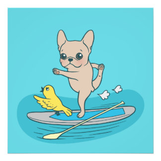 Frenchie doing yoga on stand-up paddle board photo print